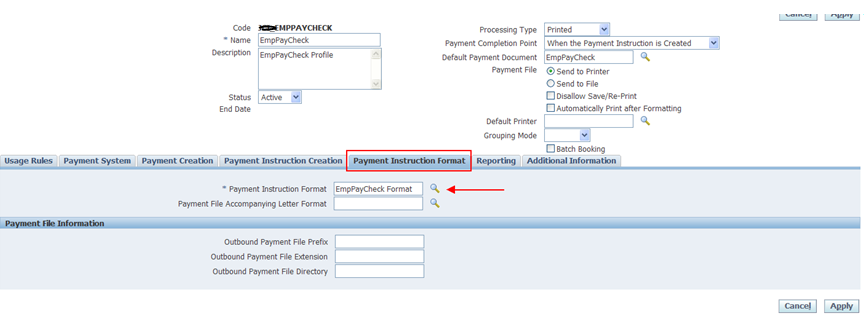 Payment Format Oracle Apps Store